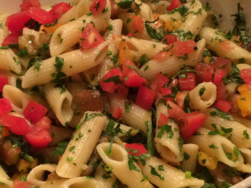 Vegetables, garlic and fresh herbs make for a delicious pasta sauce